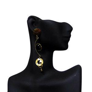 90s Kinetic Black and Gold Dangle Earrings